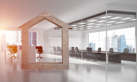 House stone figure as symbol of real estate and elegant office design. 3d rendering Stok Fotoğraf