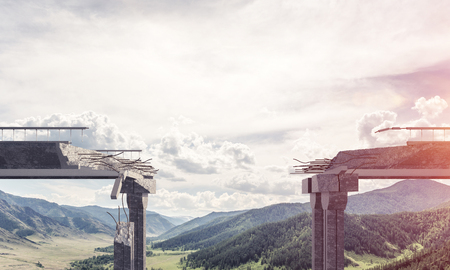 Broken concrete bridge with beautiful nature landscape, high mountains and cloudly skyscape on background. 3D rendering.