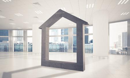 Figura de la casa de piedra como símbolo de bienes raíces y diseño de la empresa elegante . representación 3d Foto de archivo - 87207621