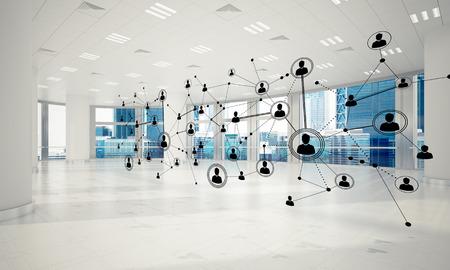 Linien schlossen an Punkte als soziales Kommunikationskonzept im Büroinnenraum an. 3D-Rendering Standard-Bild - 87207694
