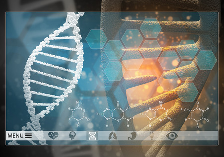 Media medicine background image as DNA research concept. 3D rendering. Stock Photo
