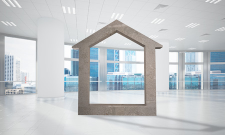 residential homes: House stone figure as symbol of real estate and elegant office design. 3d rendering Stock Photo