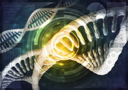 human evolution: Background image with DNA molecule research concept. 3D rendering.