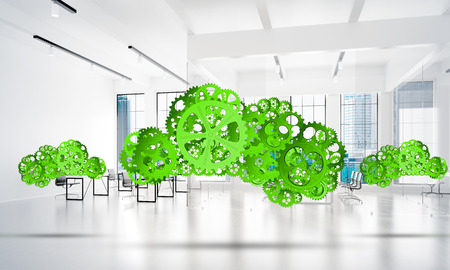 mobile marketing: Cloud computing and networking shown like gears and cogwheels engine. 3d rendering Stock Photo