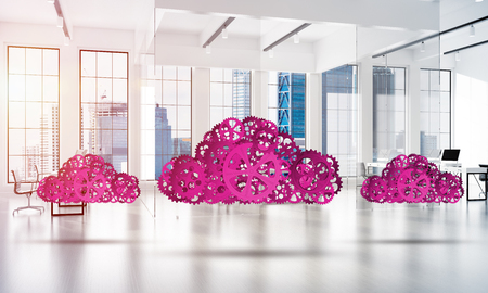 multimedia icons: Cloud computing and networking shown like gears and cogwheels engine. 3d rendering Stock Photo