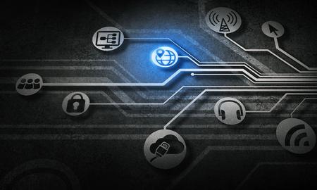 사회적 상호 작용 및 연결 개념 디지털 배경입니다. 3D 렌더링
