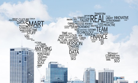 Business-related terms collage in form of world map with modern cityscape on background.
