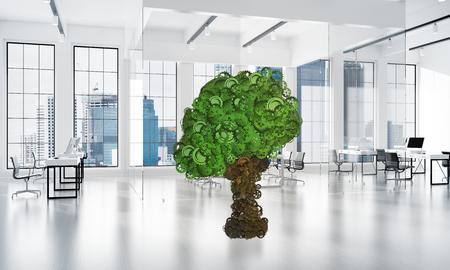 Groene boom gemaakt van versnellingen en tandwielen op witte kantoor achtergrond. 3D-rendering Stockfoto