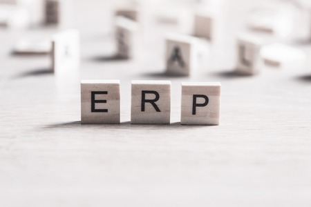Enterprise Resource Planning collected of wooden elements with the letters Stock Photo - 87761377