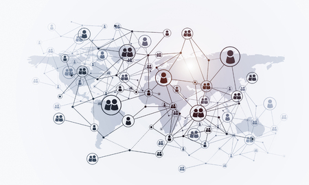 Background image with social connection and networking concept on white wall Stok Fotoğraf