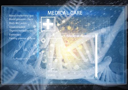 Media medicine background image as DNA research concept. 3D rendering. Reklamní fotografie