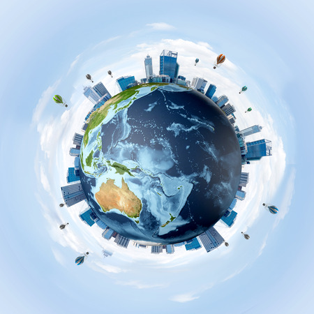 Panoramic view of Earth globe with skyscrapers on its surface. Ecology and environmental protection concepts. 3D rendering. Elements of this image are furnished by NASA.