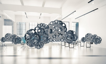 Cloud computing and networking shown like gears and cogwheels engine. 3d rendering Stock Photo