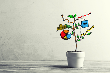 Concept of successful business plan and strategy presented by growing tree 스톡 콘텐츠