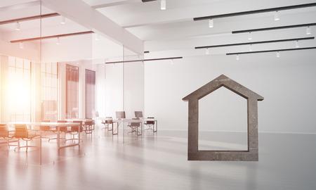 Figura de la casa de piedra como símbolo de bienes raíces y diseño de la empresa elegante . representación 3d Foto de archivo - 88273225