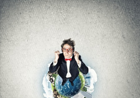 Top view of funny businessman in red glasses celebrating success. Elements of this image are furnished by NASA Imagens