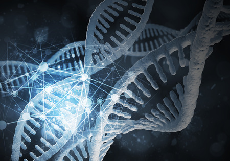 Background image with DNA molecule research concept. 3D rendering.