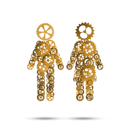man made: Figures of man and woman made of gears and cogwheels on white background