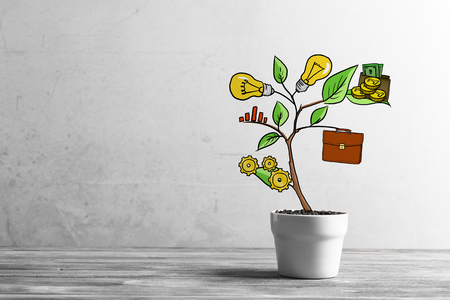 Concept of successful business plan and strategy presented by growing tree Stock Photo