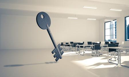エレガントなオフィスルームでのアクセスのシンボルとしてキーストーンフィギュア。3d レンダリング