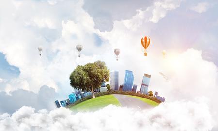 녹색 비행 섬 타워와 고층 빌딩의 도시보기. 비행 aerostates 및 배경에 파란색 흐린 skyscape. 3D 렌더링입니다.