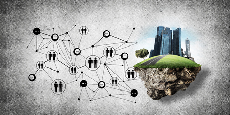 Concepto de comunicación social en la ciudad por medio de la isla voladora con edificios modernos y la estructura de la red social contra la pared gris en el fondo. Representación 3D Representación 3D Foto de archivo