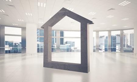 Figura de la casa de piedra como símbolo de bienes raíces y diseño de la empresa elegante . representación 3d Foto de archivo - 90038599