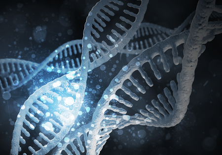 Background image with DNA molecule research concept. 3D rendering 版權商用圖片