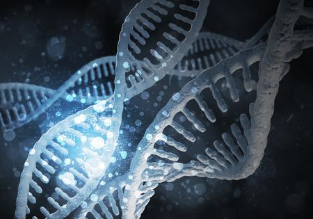 DNA 分子研究の概念と背景イメージです。3 D レンダリング 写真素材