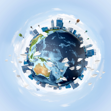 Panoramic view of Earth globe with skyscrapers on its surface. Ecology and environmental protection concepts. 3D rendering.