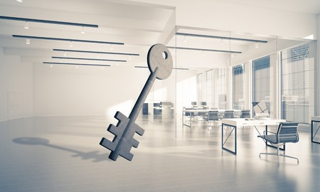 Key stone figure as symbol of access in elegant office room. 3d rendering Reklamní fotografie - 89907191