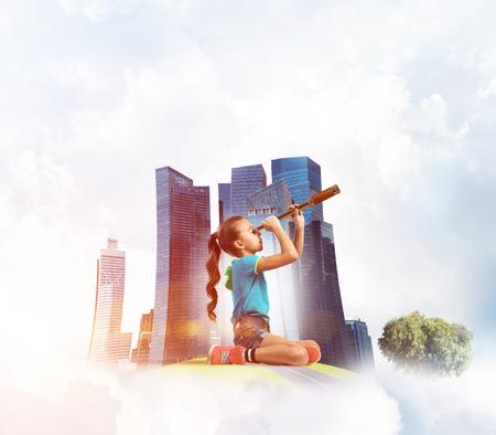 Cute kid girl on city floating island looking in spyglass