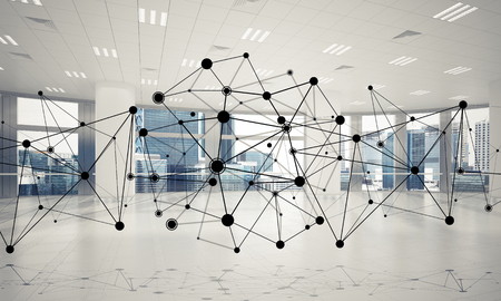 Lines connected with dots as social communication concept in office interior. 3D rendering