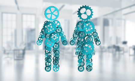 Figures of man and woman made of gears and cogwheels on white background. 3d rendering