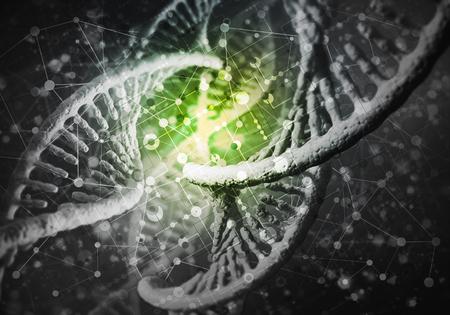 DNA 분자와 배경 이미지 연구 개념입니다. 3D 렌더링