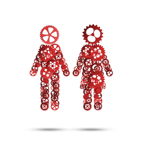 Figures of man and woman made of gears and cogwheels on white background