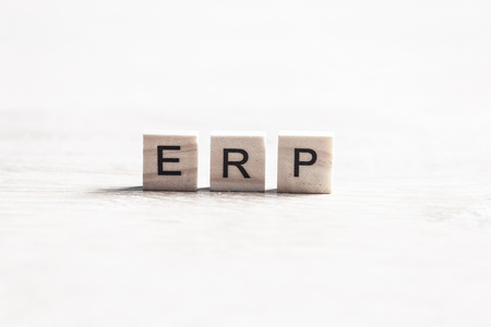 Enterprise Resource Planning collected of wooden elements with the letters Stock Photo - 90920869