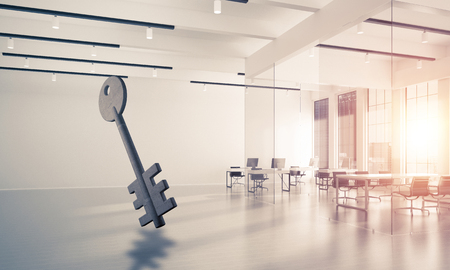 Key stone figure as symbol of access in elegant office room. 3d rendering Stock Photo - 91096570