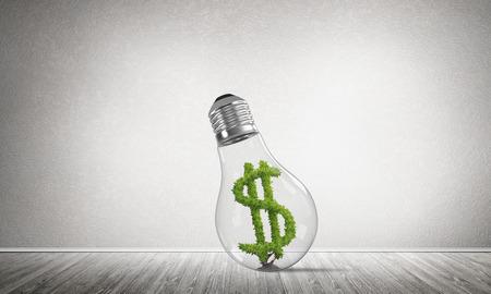 Glas lightbulb met groen dollarsymbool binnen in lege ruimte met grijze muur op achtergrond. 3D-rendering. Stockfoto