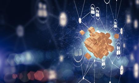 キューブフィギュアとソーシャル接続線を持つ概念的な背景画像。3D レンダリング