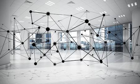 Linien verbunden mit Punkten als soziales Kommunikationskonzept im Büroinnenraum . 3D-Rendering Standard-Bild - 91729766