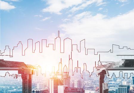 Een hiaat in concrete brug als symbool van gevaar en risico met silhouet van cityscape en zonlicht op achtergrond. 3D-rendering.