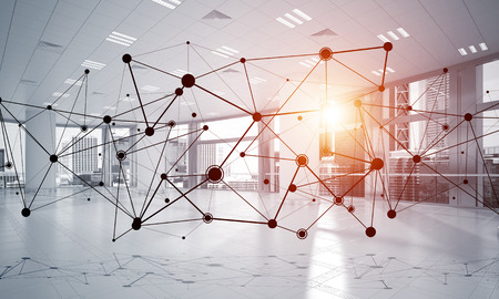 Linien verbunden mit Punkten als soziales Kommunikationskonzept im Büroinnenraum . 3D-Rendering Standard-Bild - 92169397