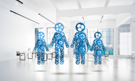 Figures of family made of gears and cogwheels on white office background. 3d rendering Banco de Imagens