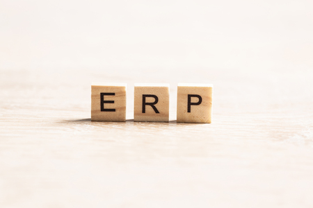 Enterprise Resource Planning collected of wooden elements with the letters Stock Photo