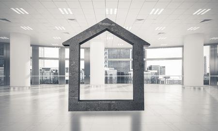 House stone figure as symbol of real estate and elegant office design. 3d rendering Stock fotó