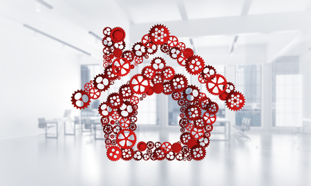 Conceptual background image with house sign made of connected gears. 3d rendering