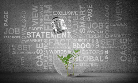 Lightbulb with green plant inside placed against business related terms on grey wall on background. 3D rendering. Stock Photo
