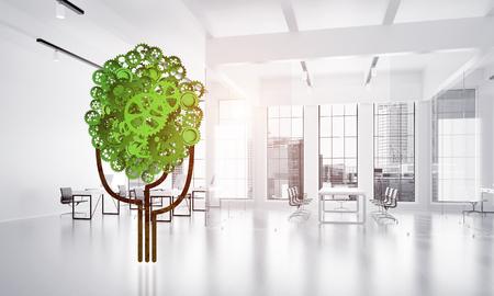 Groene boom die van toestellen en tandraderen op witte bureauachtergrond wordt gemaakt. 3D-weergave Stockfoto - 92816622