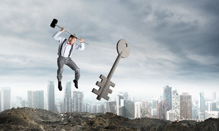 Jumping businessman crashing big key symbol with city view on background. 3D rendering.